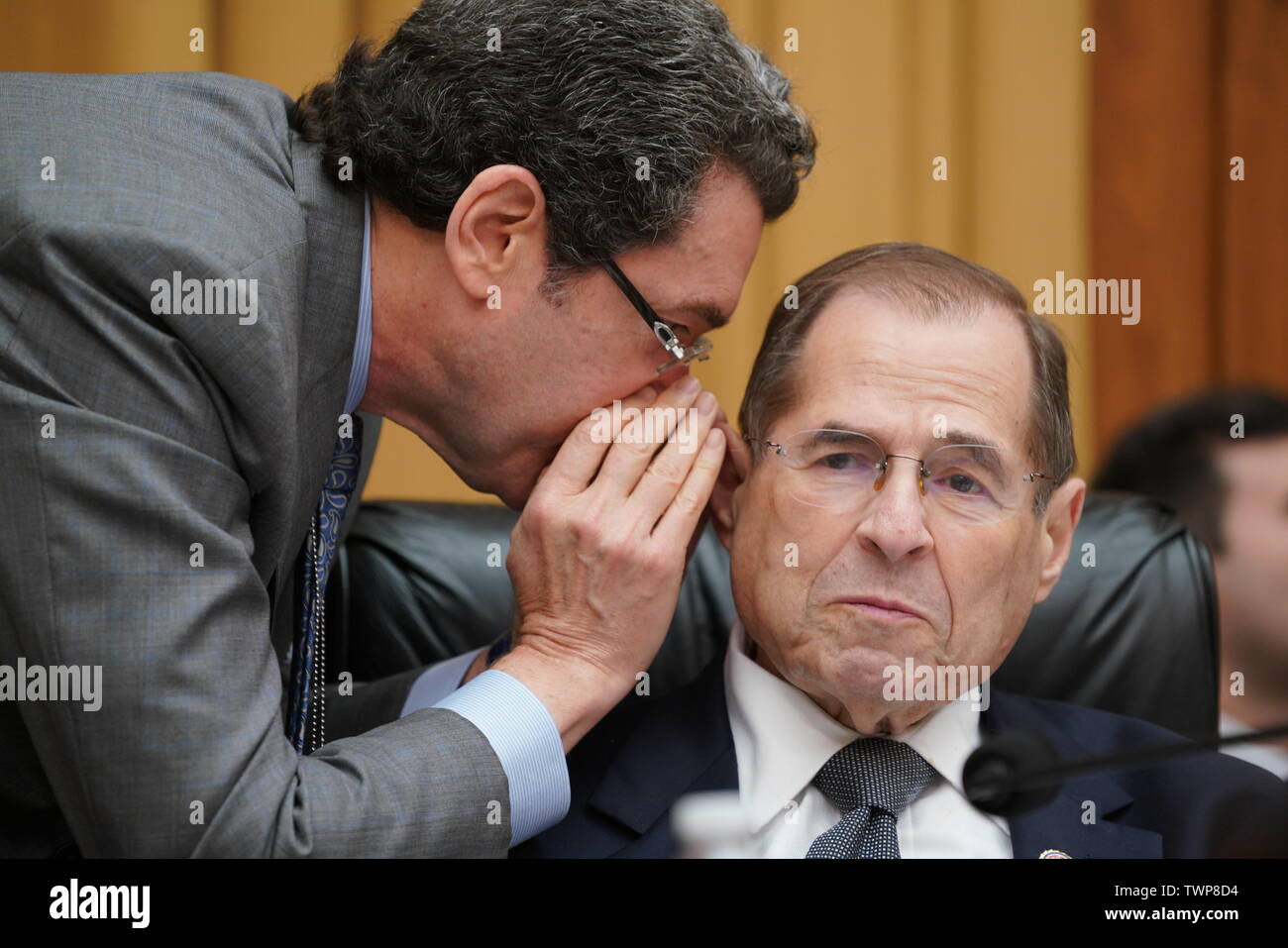 June 20, 2019 - Washington, District of Columbia, U.S. - NORM EISEN (left) speaks to Rep. JERROLD NADLER, D-NY, as Nadler prepares to chair the House Judiciary Committee as it holds the latest in a series of hearings on the Mueller report. Eisen is a Brookings Institution fellow, a former White House lawyer in the Obama administration and an outspoken Trump critic, and is serving as part-time counsel to the committee to help Nadler conduct oversight of the Justice Department and special counsel R. Mueller's Russia probe. The committee has been under pressure from some Democrats to begin impeac Stock Photo