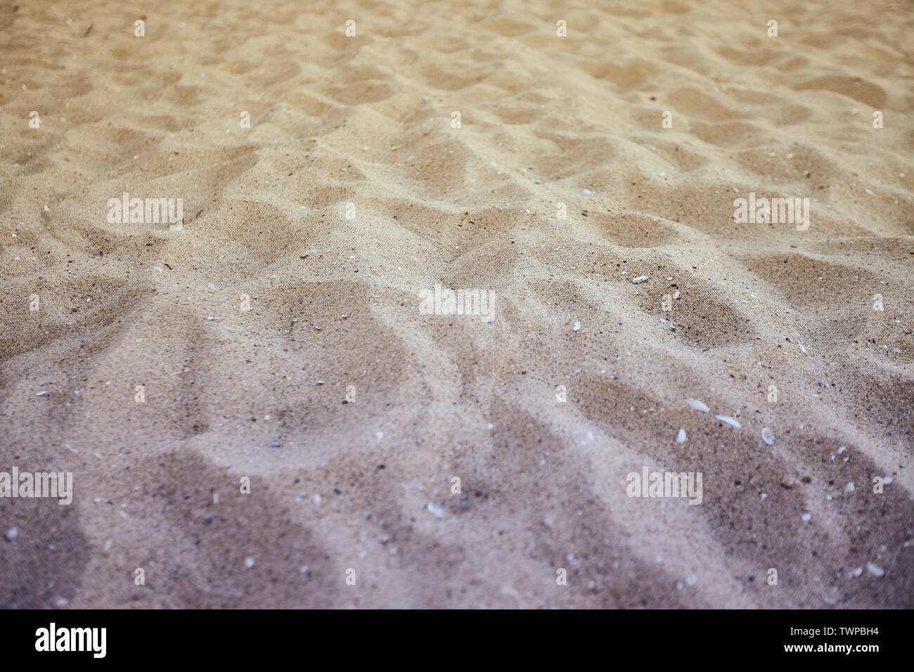Fine beach sand in the summer sun - Stock Image