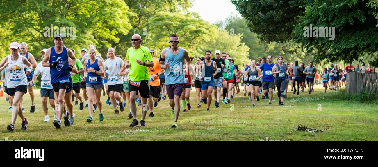 Kings Park, New York, USA - 17 June 2019: runners moments after the start of the summer series 10K running across the grass at Sunken Meadow State Par - Stock Image