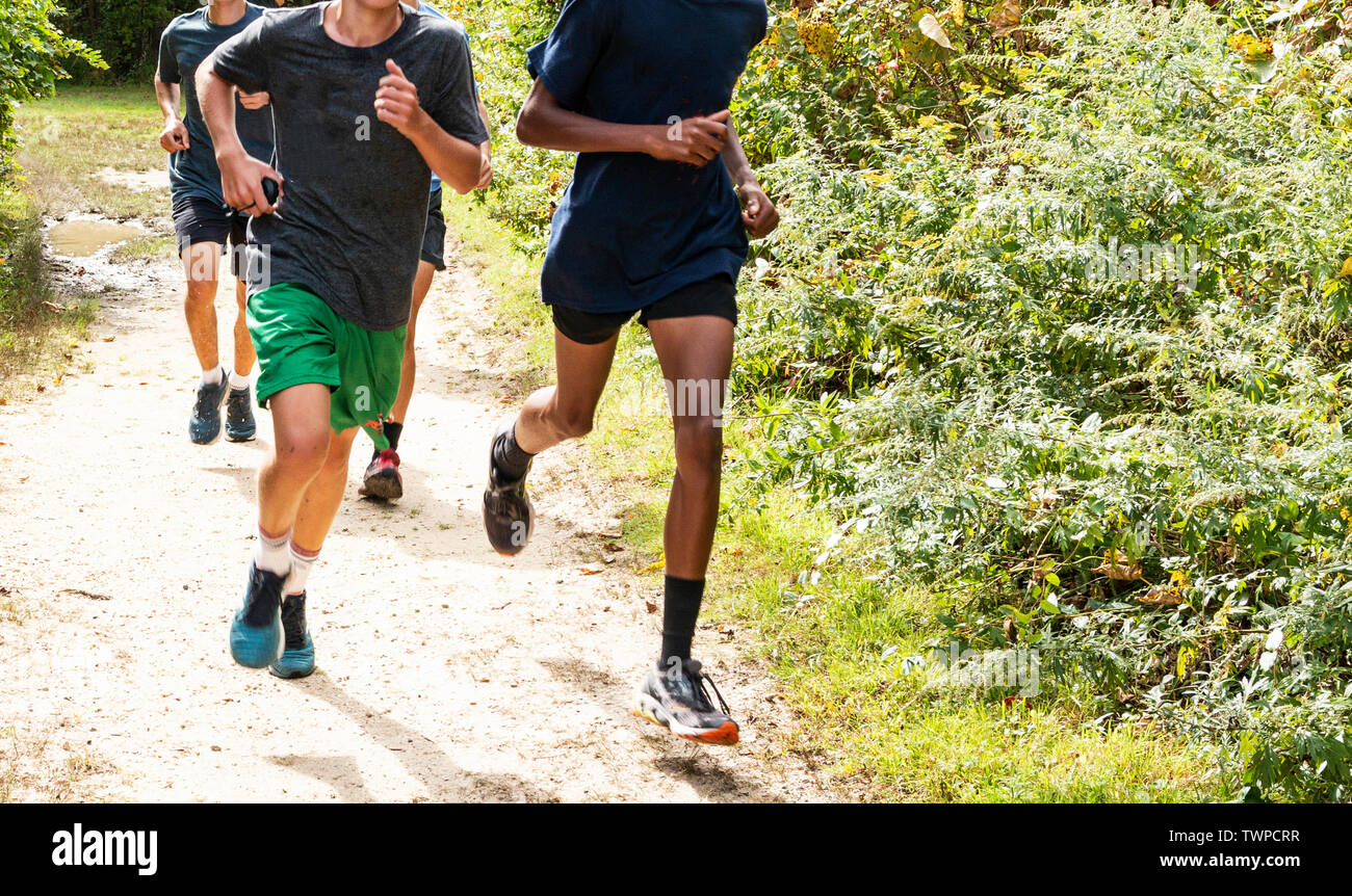A group of high school boys cross country runners are training together on a dirt path in the woods. - Stock Image