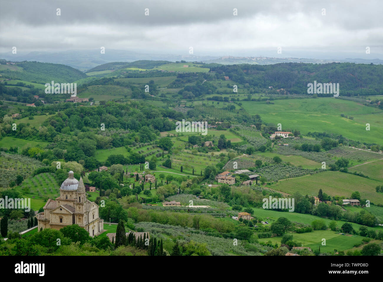 VIEW FROM MONTEPULCIANO . At left: Madonna di San Biagio Stock Photo
