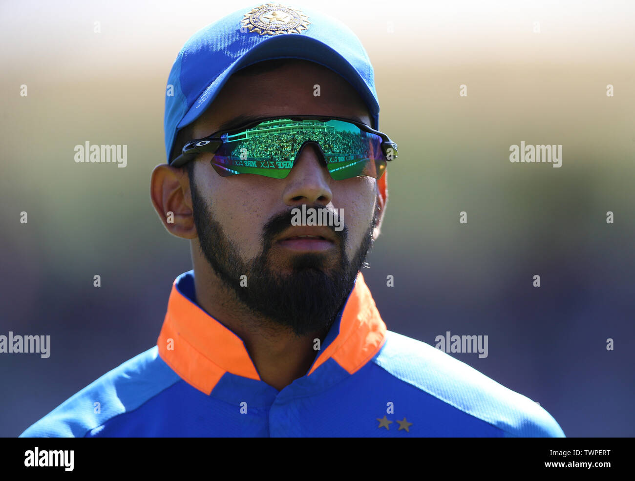 India's KL Rahul during the ICC Cricket World Cup group stage match at the Hampshire Bowl, Southampton. Stock Photo