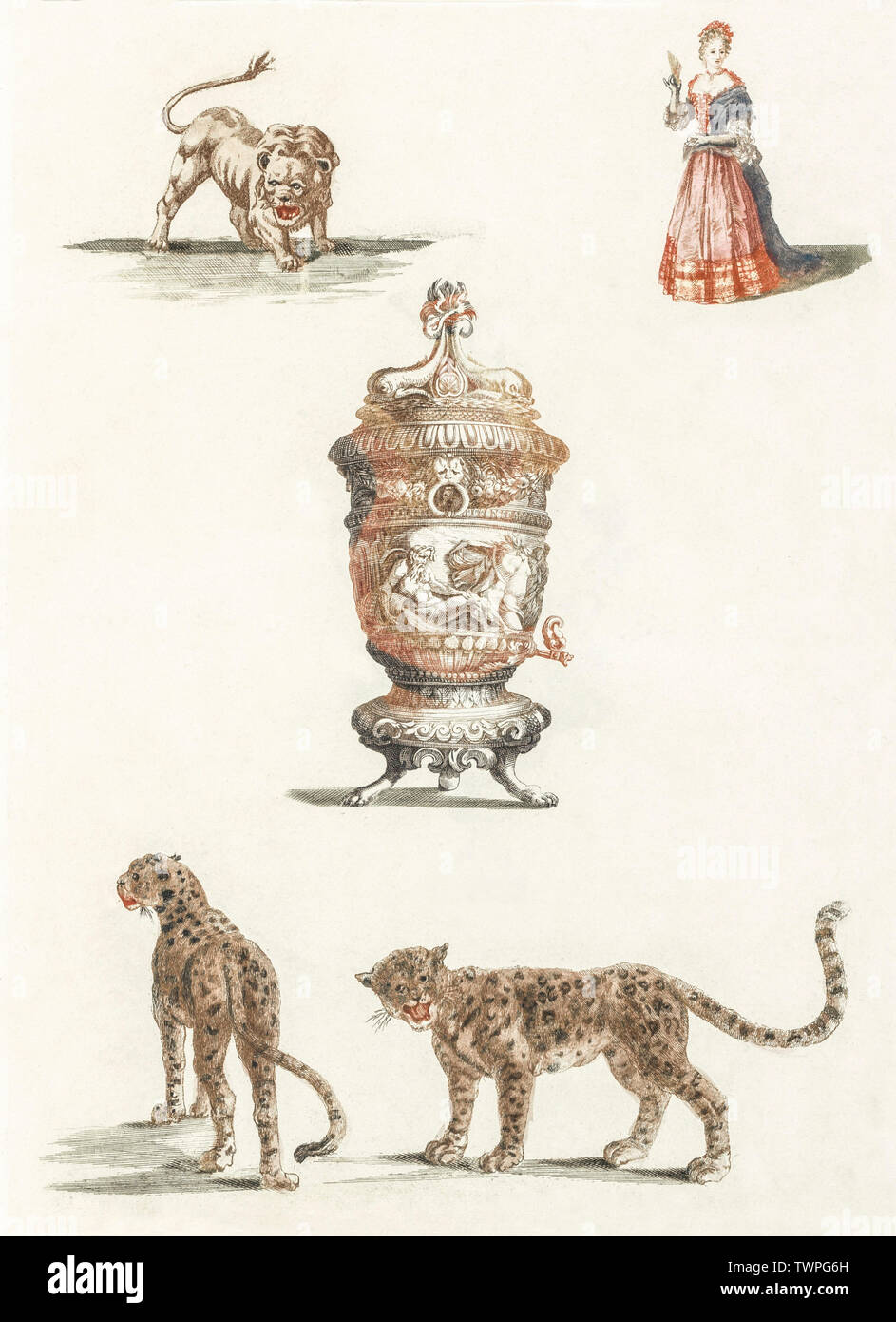 A lion, a standing woman, a fountain and two leopards by Johan Teyler (1648-1709). Original from the Rijks Museum. Digitally enhanced by rawpixel. - Stock Image