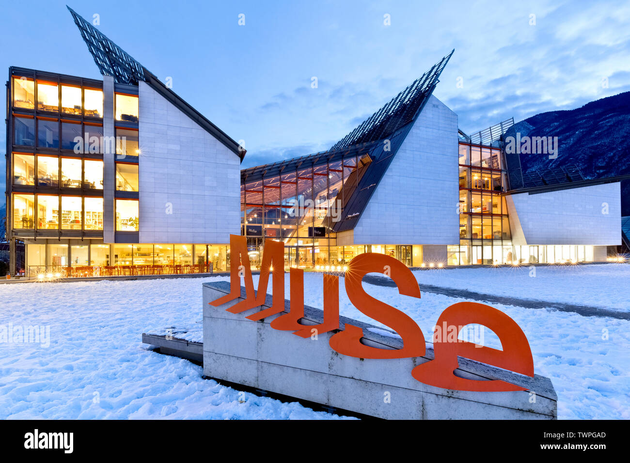 Entrance to the MUSE Science Museum in Trento. Trentino Alto-Adige, Italy, Europe. Stock Photo