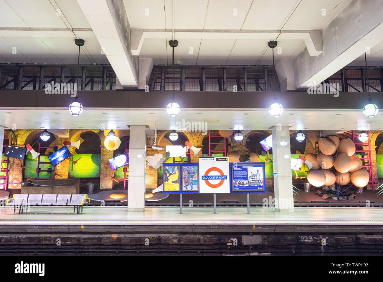London, United Kingdom - May 13, 2019: famous London Underground station of Gloucester Road . - Stock Image