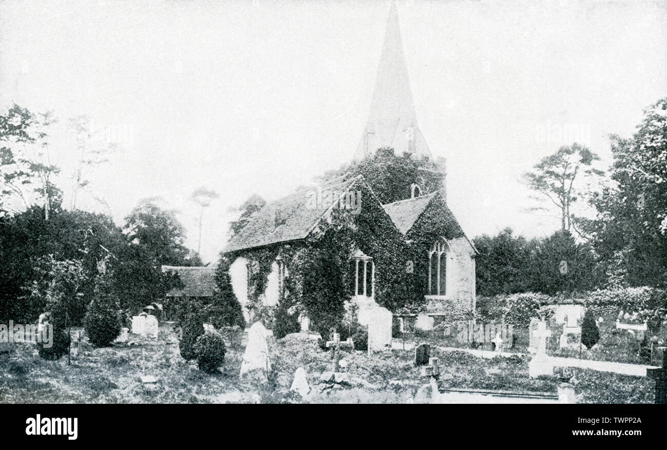 "This photograph, which dates to 1922 or before, shows Stoke Pogis and St. Giles' Church. The spelling is also Stoke Poges. The historical link of the town of Stoke Poges in Buckinghamshire, England, is to English poet Thomas Gray, whose mother was buried in the cemetery here and who began work on  his ""Elegy in a Country Churchyard"" in 1742 while visiting  here and finished the poem here in 1750. Gray was also buried here. - Stock Image"