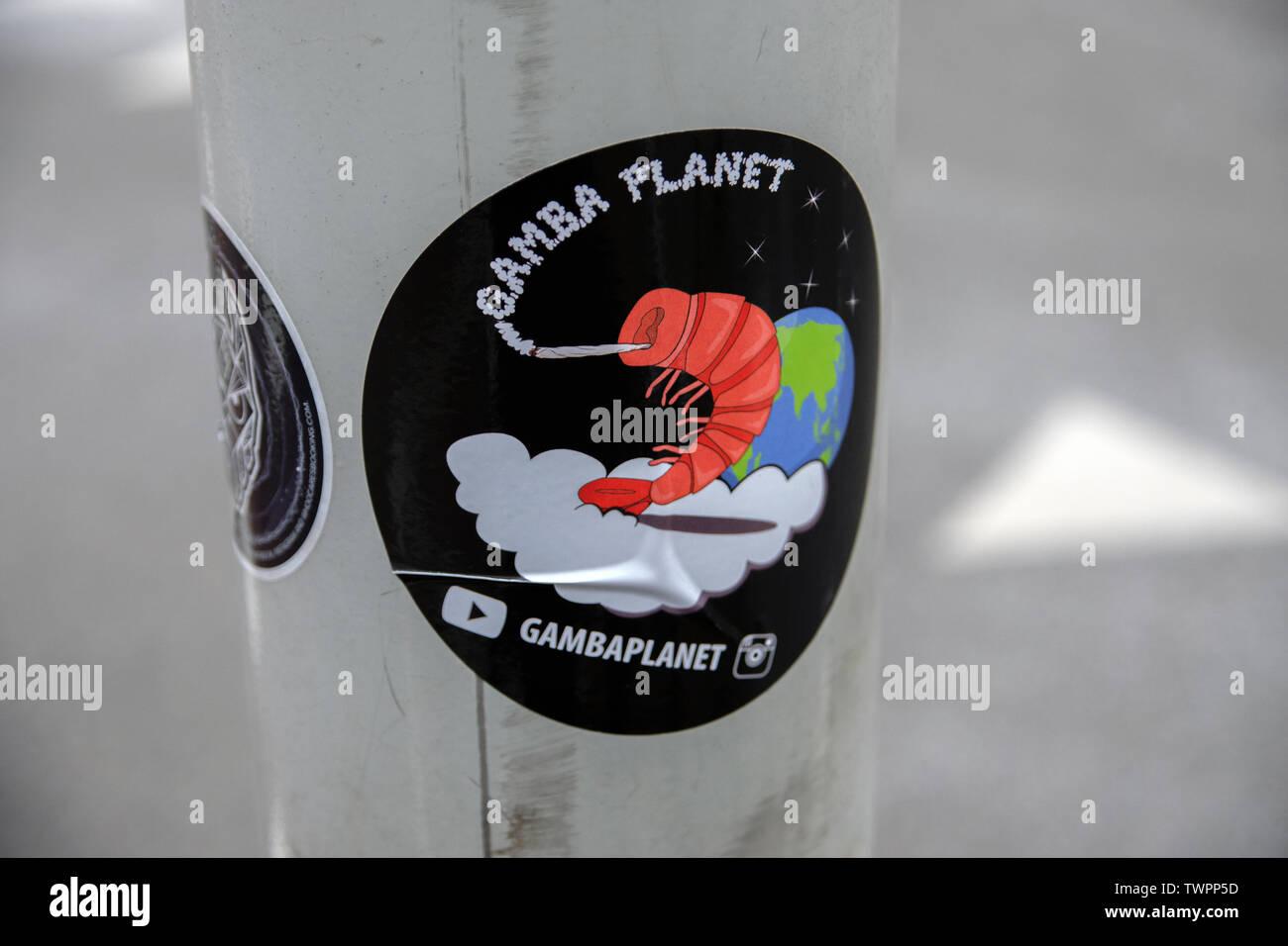 Sticker Gambaplanet At Amsterdam The Netherlands 2019 - Stock Image