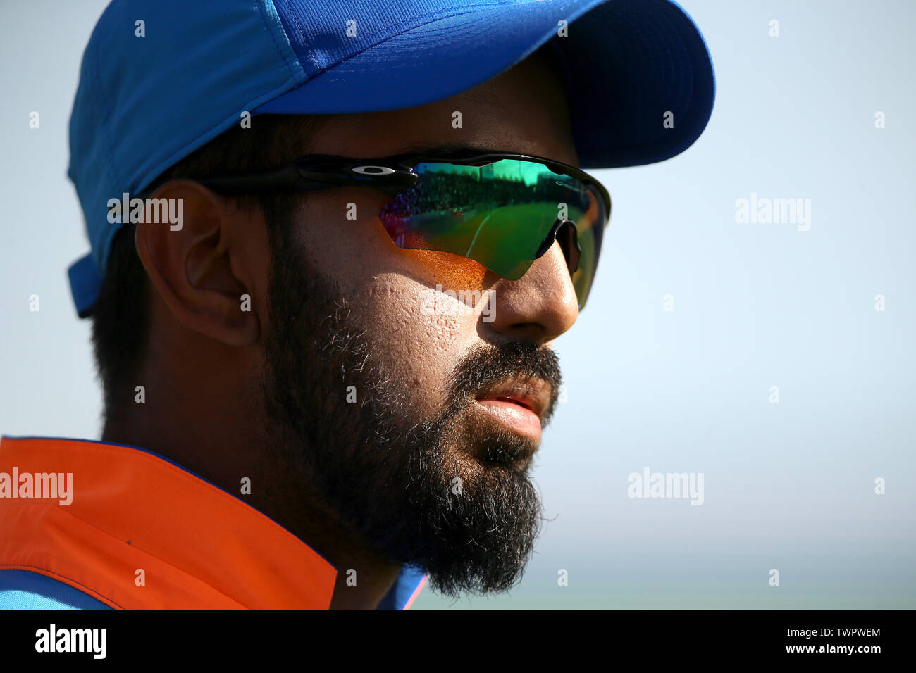 India's KL Rahul during the ICC Cricket World Cup group stage match at the Hampshire Bowl, Southampton. - Stock Image
