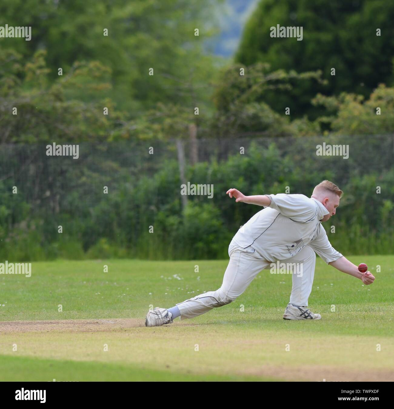 A fielder stops the ball. - Stock Image