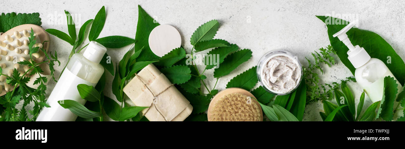 Natural Cosmetics And Green Leaves On White Stone Background Banner Natural Organic Skincare Bio Research And Healthy Lifestyle Concept Stock Photo Alamy
