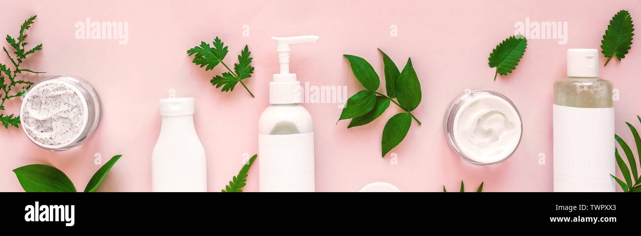 Natural Cosmetics And Green Leaves On Pink Background Banner Natural Organic Skincare Bio Research And Healthy Lifestyle Concept Stock Photo Alamy
