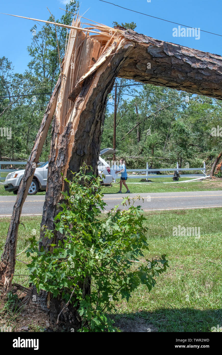 BENTON LA., U.S.A., JUNE 20, 2019: Heavy property damage but no injuries resulted from an EF2 tornado, which struck this north Louisiana neighborhood Stock Photo