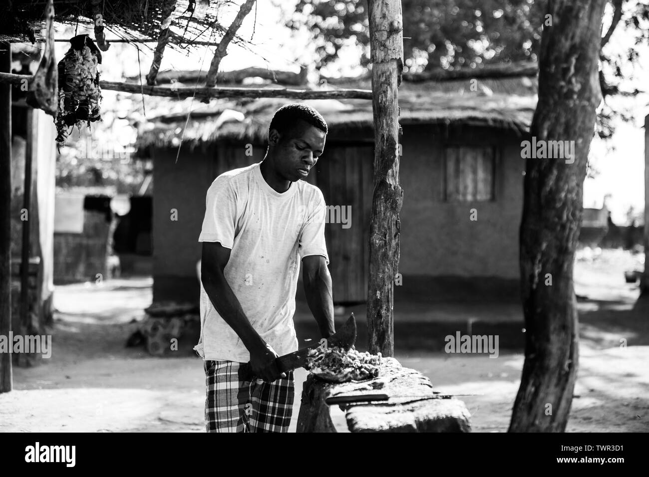 A street butcher cutting a piece of meat with his panga knife in front of a hut - Stock Image