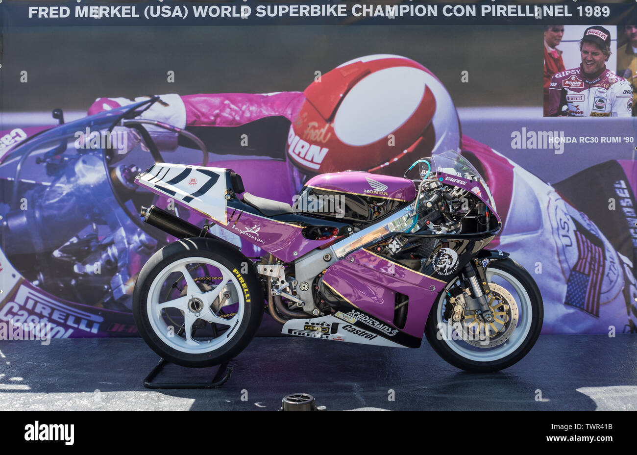 Honda VFR750R of Fred Merkel, former Superbike World Champion, on display at Imola, Italy Stock Photo