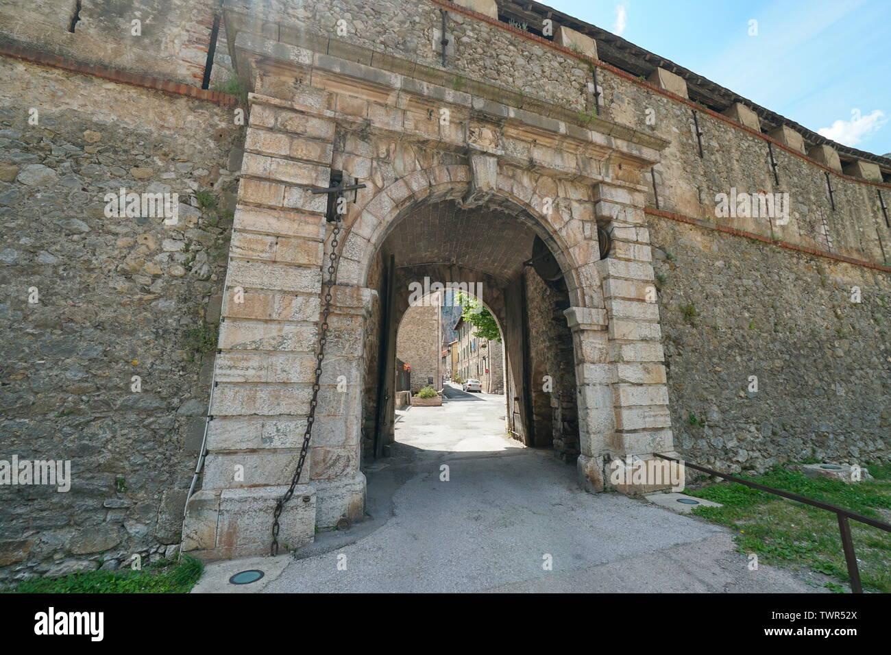 Gate entrance to medieval village Villefranche de Conflent, Pyrenees Orientales, Occitanie, France Stock Photo