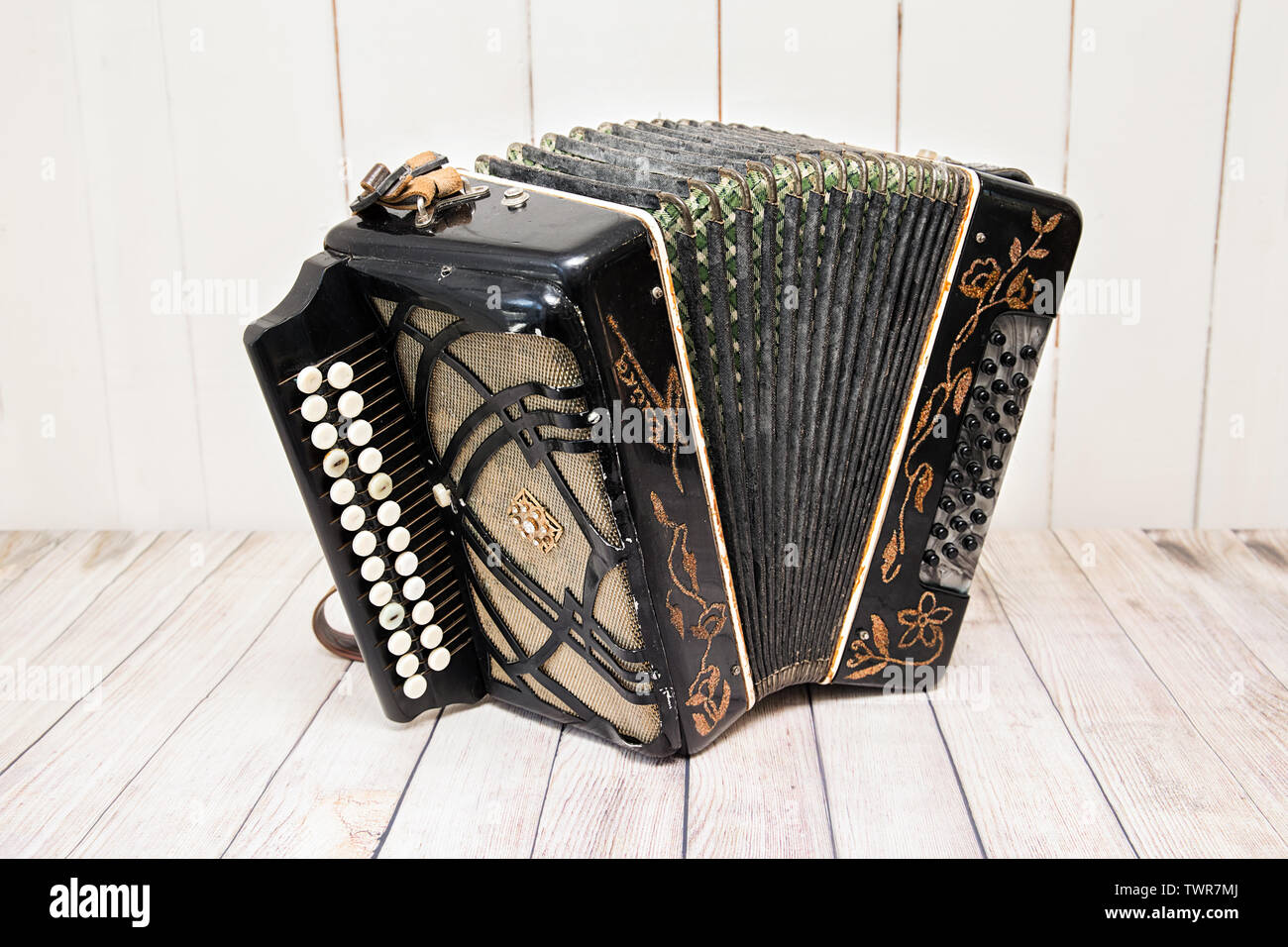 Accordion with unrolled furs. Russian folk musical instrument - Stock Image