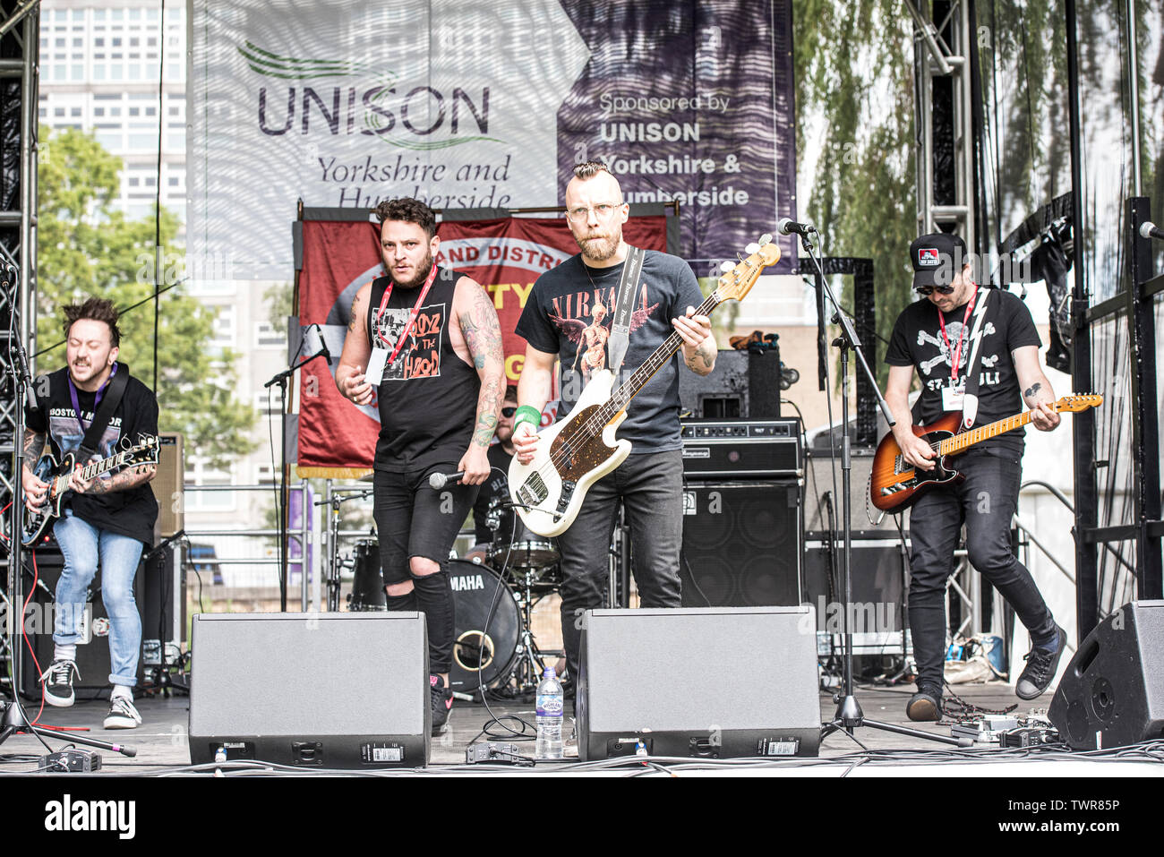 England, UK, Hull, 22nd June 2019, Bloodsport play main stage at  engage for change festival in Queens Gardens, Hull. An event supported by the Hull and District Trades Council. - Stock Image