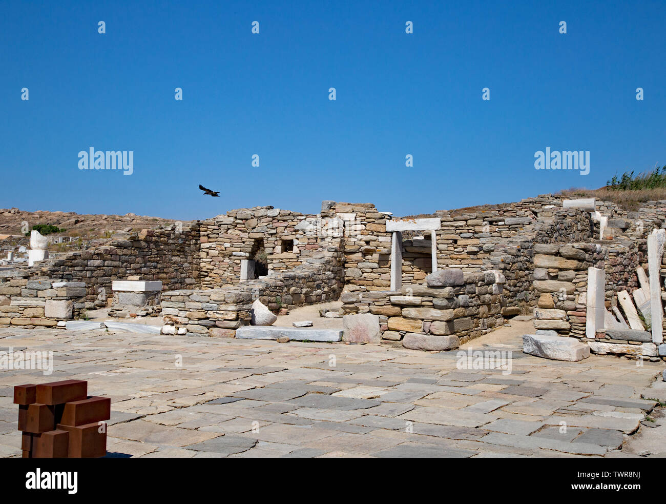 The island of Delos off the coast of Mykonos is a historical port and trading city. Stock Photo