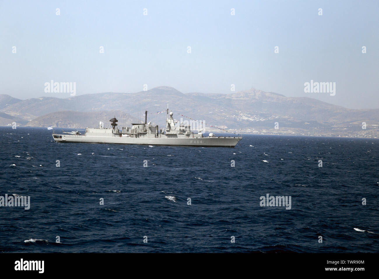 Greek naval destroyer patrols the waters of the Aegean, off Greece Stock Photo