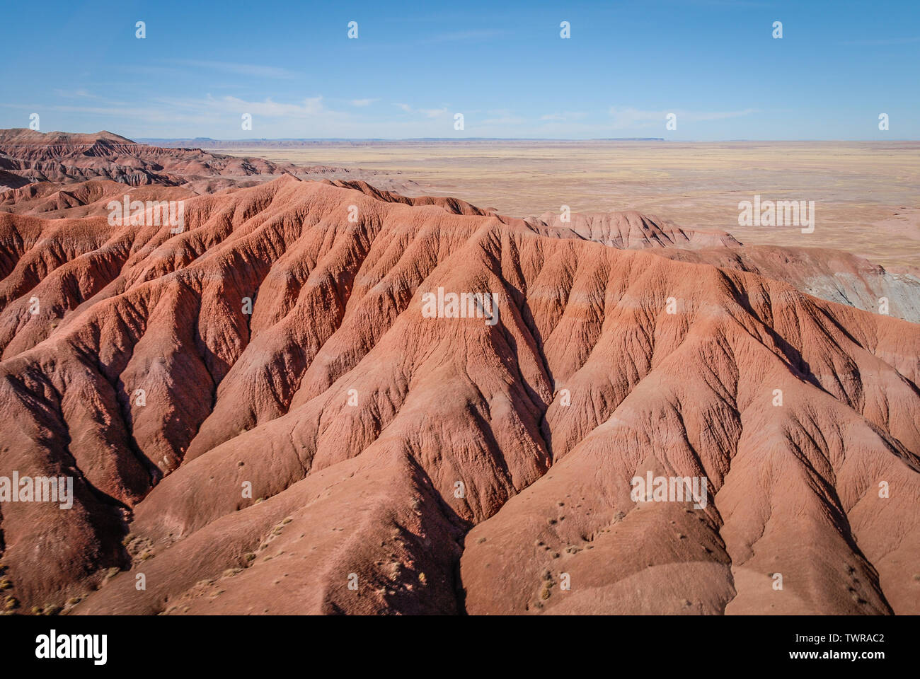 Helicopter view of painted desert in Northern Arizona. (USA) - Stock Image