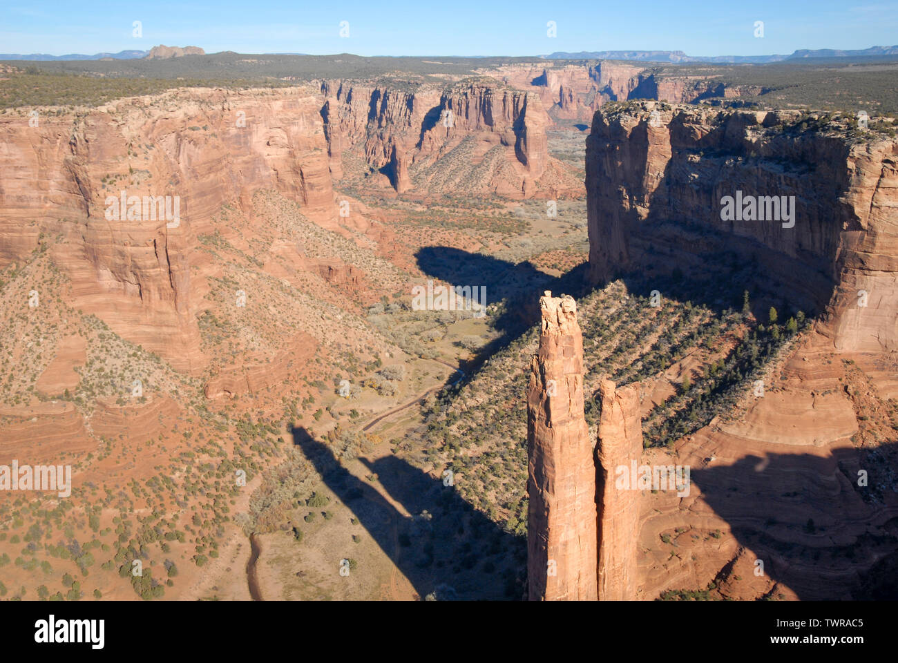 Helicopter view of Spider Rock at Canyon de Chelly National Monument near Chinle, Arizona (Navajo Nation), USA. - Stock Image