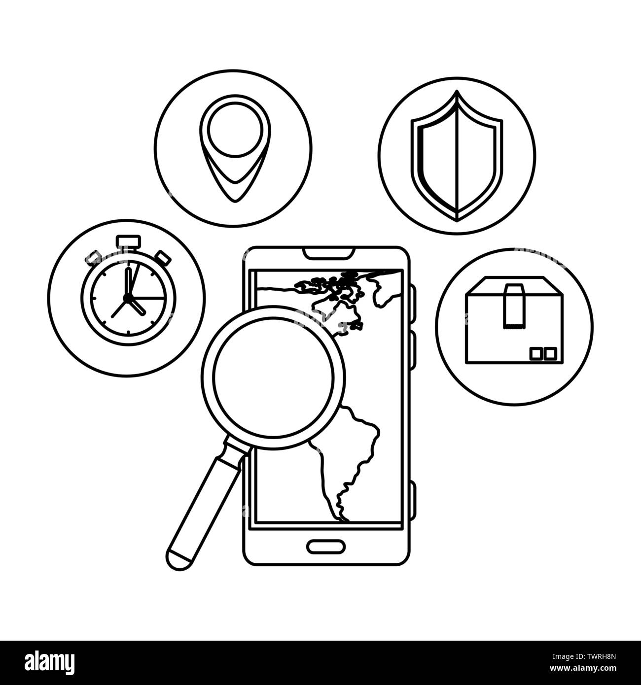 smartphone with magnifying and delivery icons - Stock Image