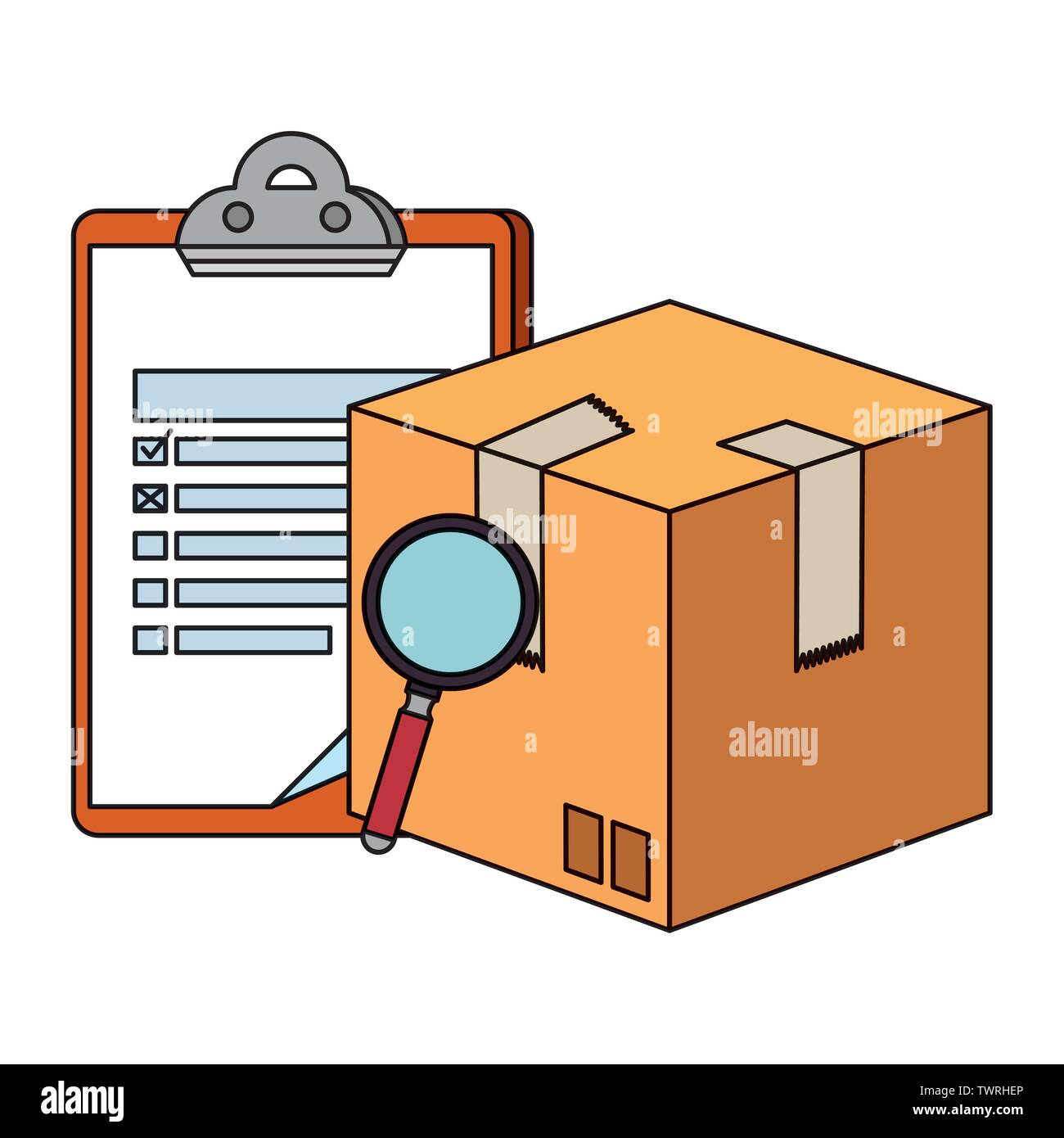 box carton with magnifying and checklist delivery service - Stock Image