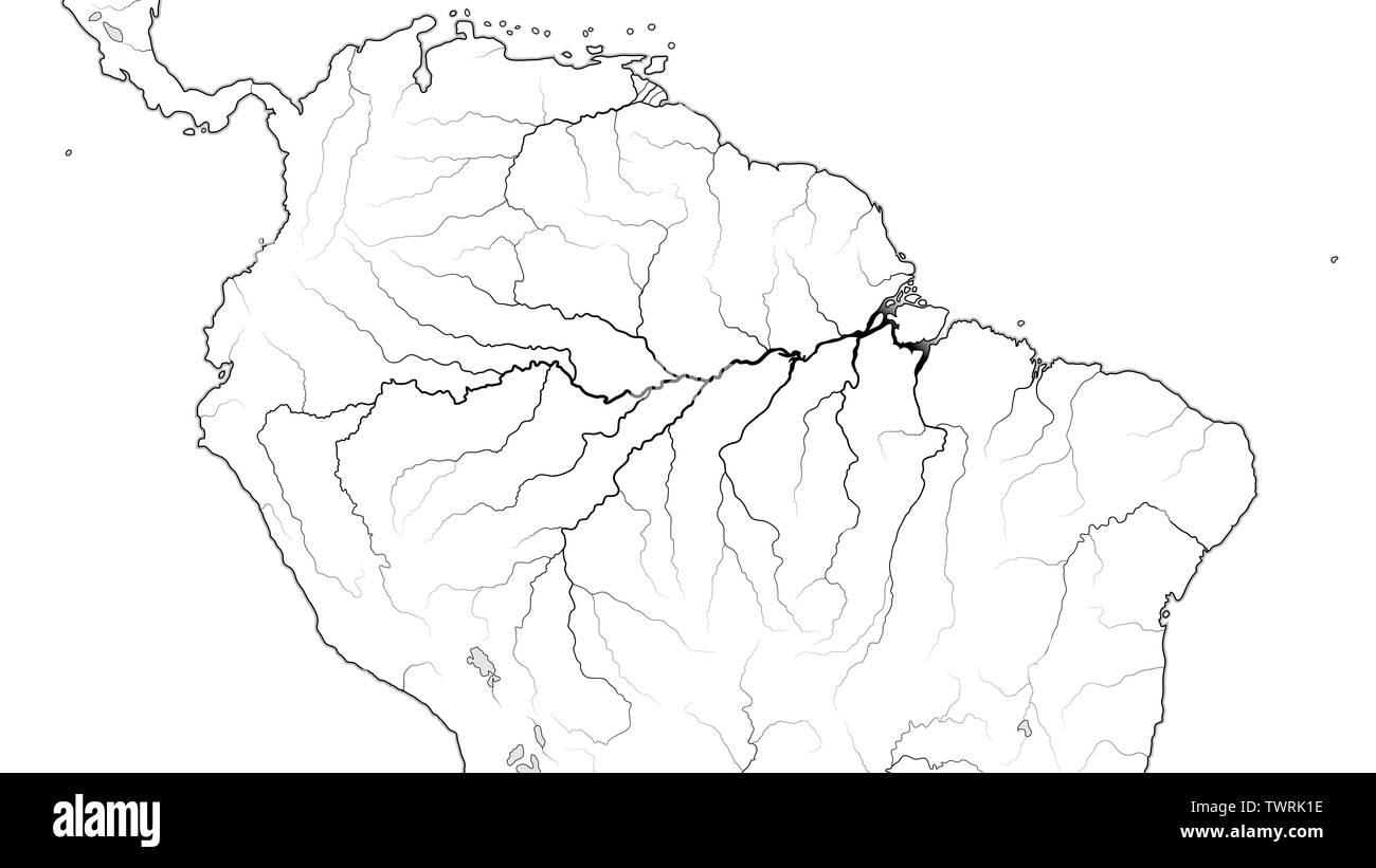World Map of The AMAZON SELVA REGION in SOUTH AMERICA: Amazon Selva, Orinoco Llanos, Brazil, Venezuela, Colombia, Peru. (Geographic chart). - Stock Image