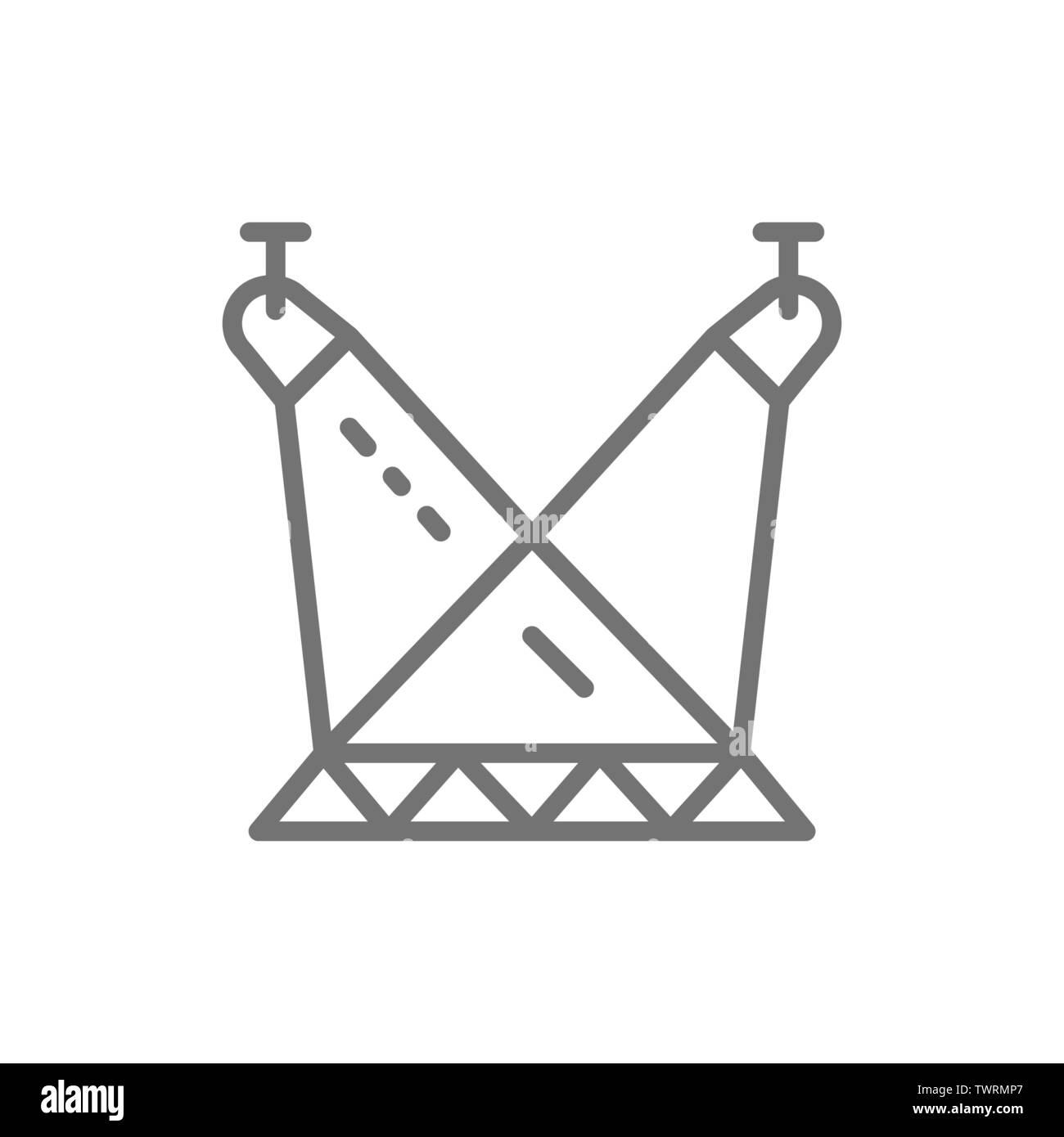 Scene illumination, spotlights on circus arena line icon. - Stock Image