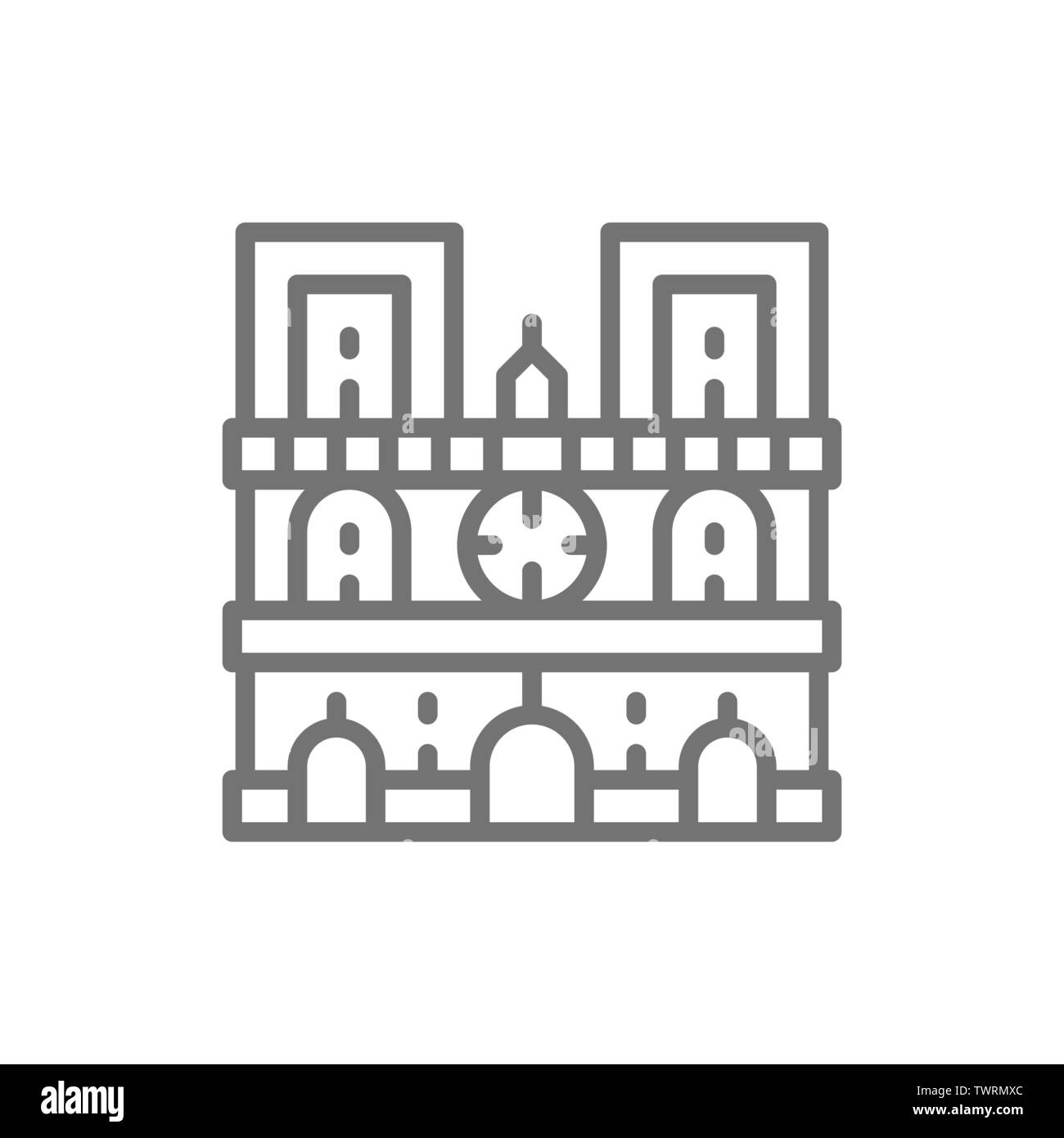Notre Dame Cathedral, landmark of Paris, France line icon. - Stock Image