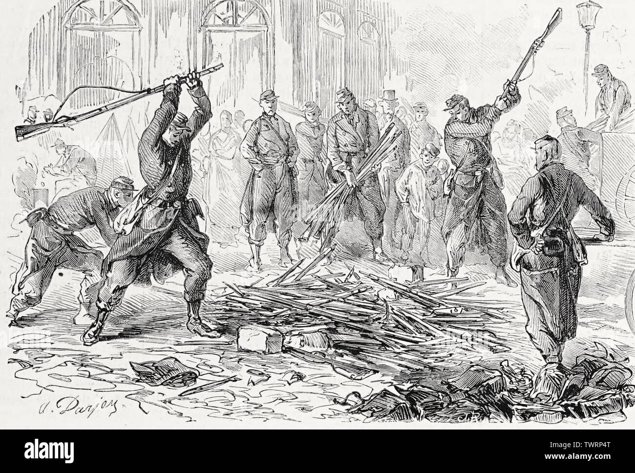 Destruction of arms taken from insurgents during the Paris Commune, 1871 Stock Photo