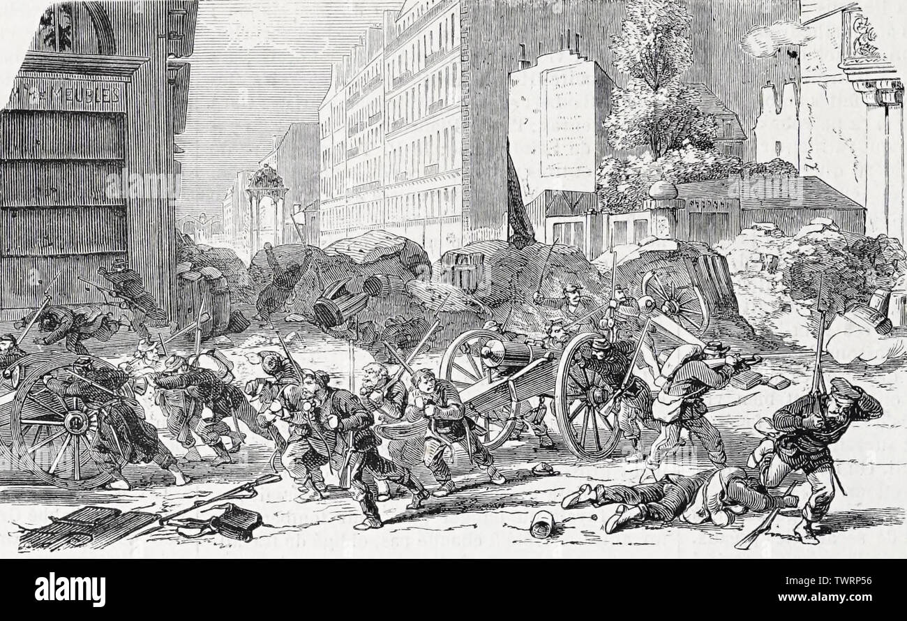 Evacuation of the Rue de Rennes by insurgents during the Paris Commune, 1871 Stock Photo