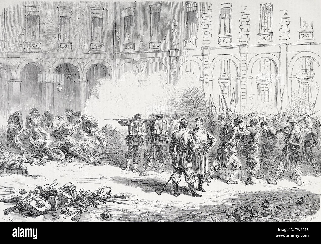 Execution of the insurgents taken at the Lobau Barracks during the Paris Commune, 1871 Stock Photo