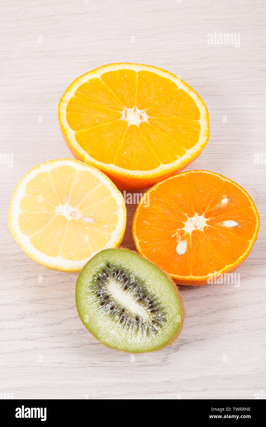 Fresh ripe fruits. Concept of healthy nutrition, slimming and dieting - Stock Image