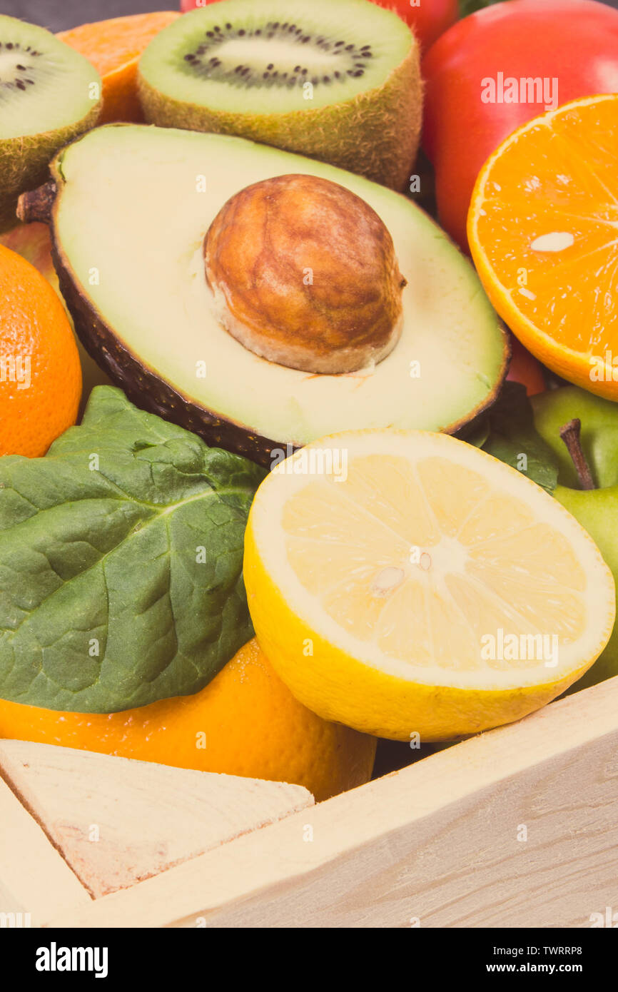 Healthy natural ripe fruits and vegetables. Nutritious food containing minerals and vitamins - Stock Image