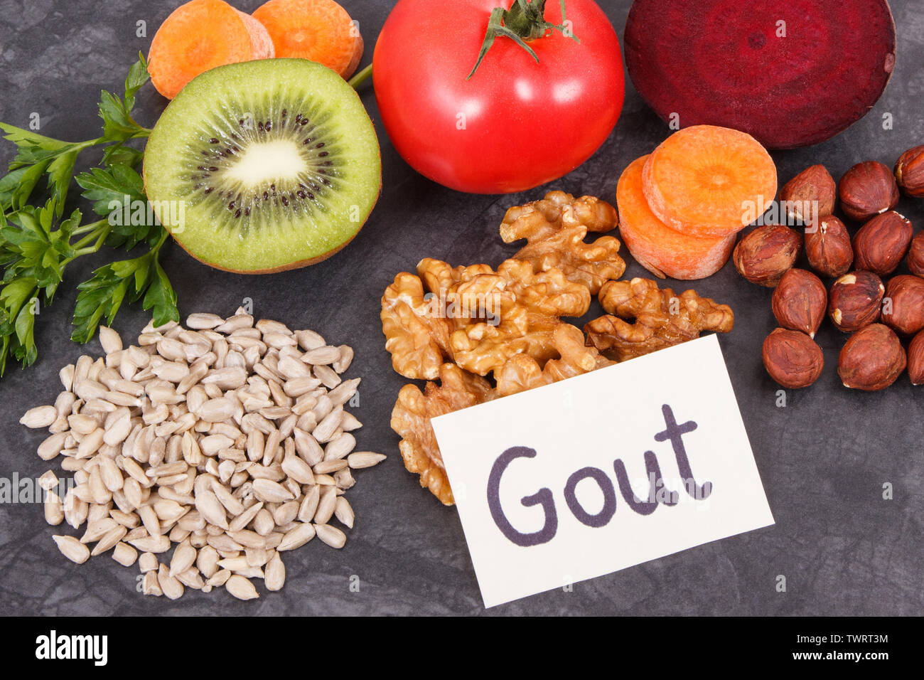 Best nutritious food for kidneys health and gout inflammation. Concept of healthy eating as source natural vitamins - Stock Image