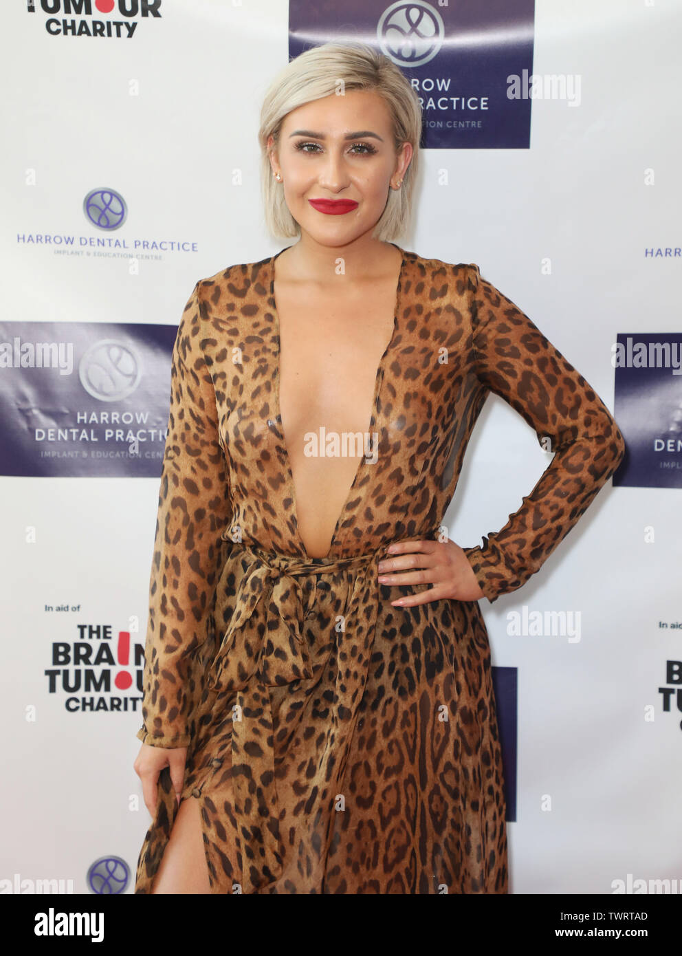 Frankie Maddin attending Harrow Dental Practice's first ever charity gala dinner in aid of The Brain Tumour Charity at the Intercontinental 02 Hotel in London Stock Photo