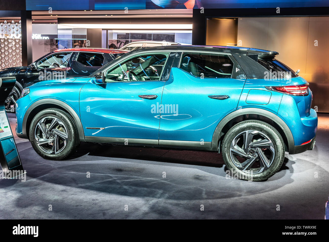 Paris, France, October 09, 2018: metallic blue Citroen DS 3 Crossback at Mondial Paris Motor Show, SUV car produced by French DS Automobiles - Stock Image