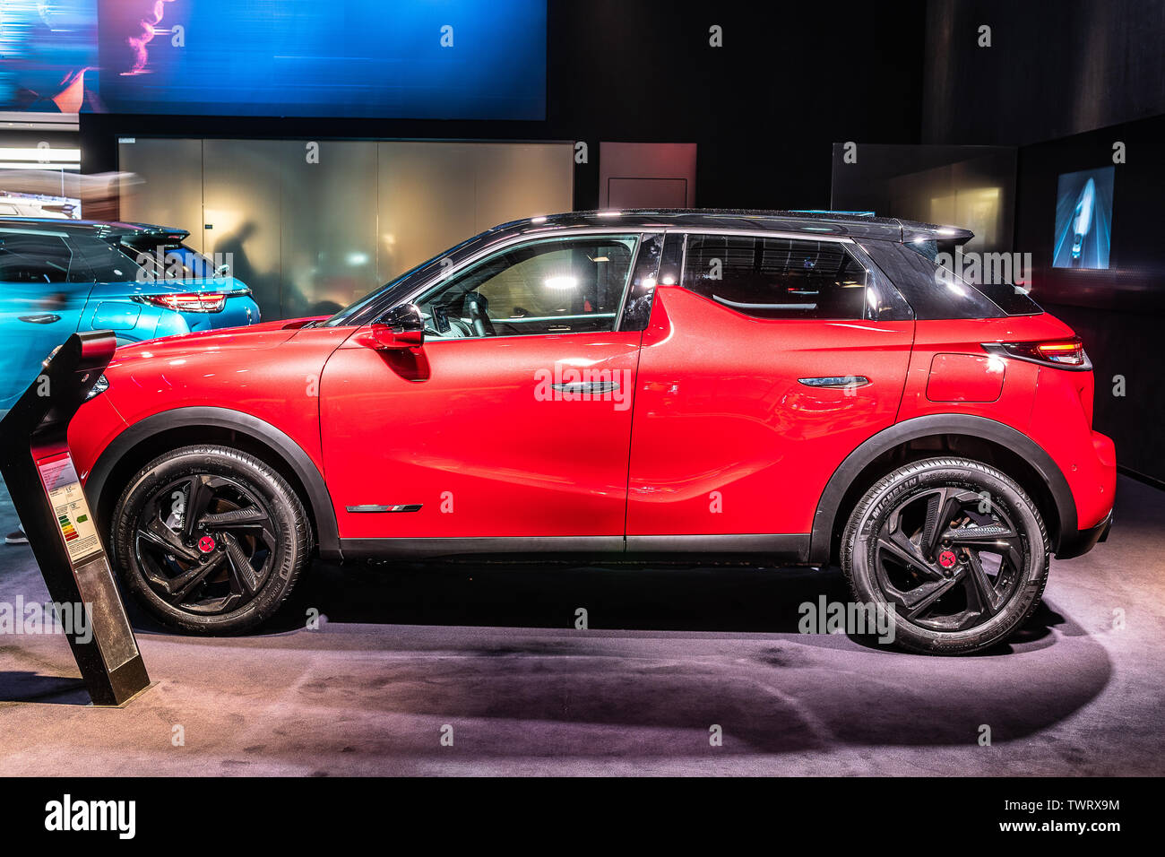 Paris, France, October 09, 2018 red Citroen DS 3 Crossback DS Performance Line, Mondial Paris Motor Show, SUV car produced by French DS Automobiles - Stock Image