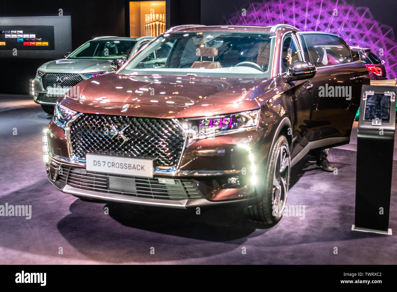 Paris, France, Oct 09, 2018 Citroen DS 7 Crossback 4x4 at Mondial Paris Motor Show, SUV car produced by French DS Automobiles - Stock Image