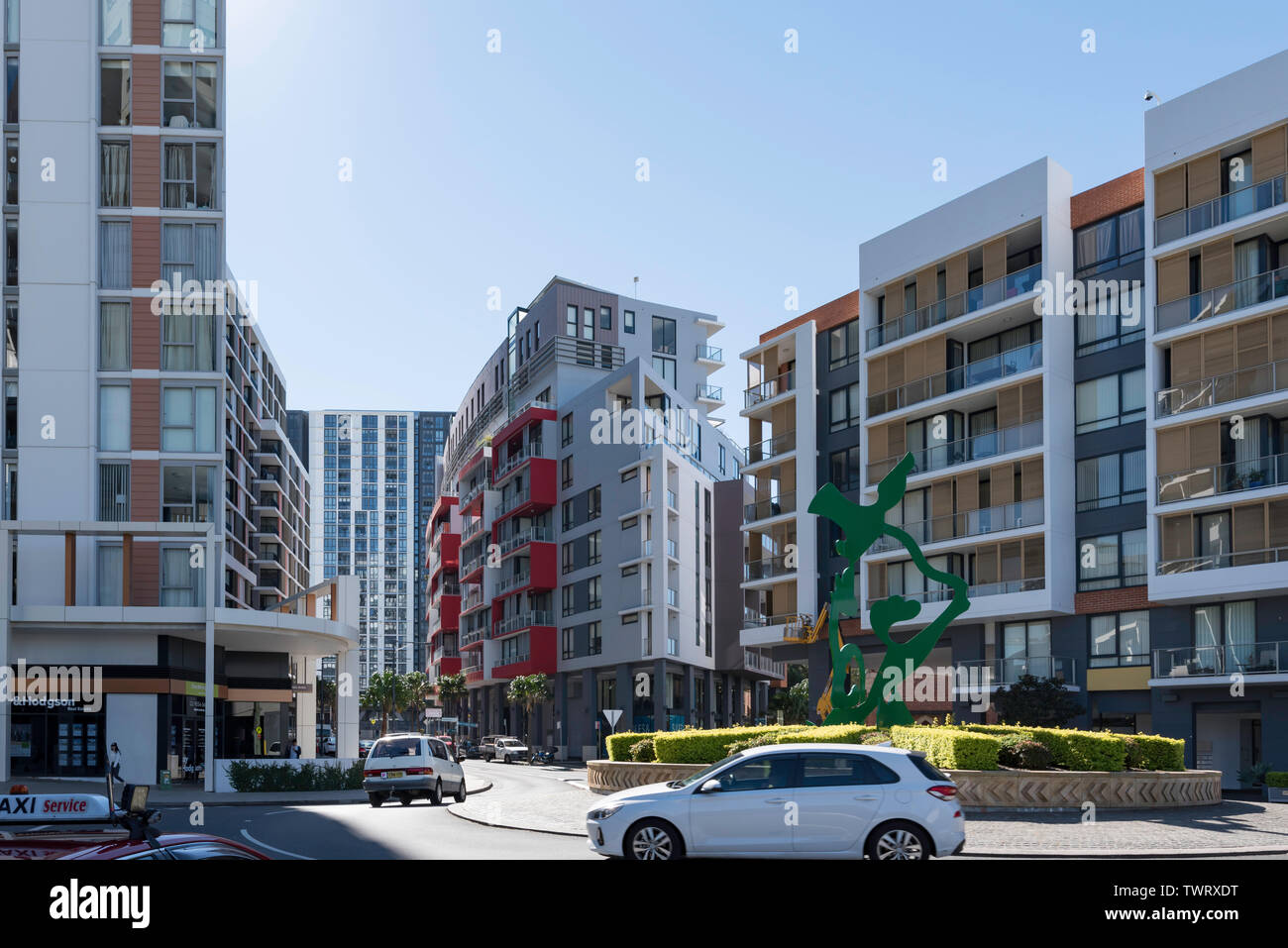 High rise accommodation and apartments on Brodie Spark Drive, Wolli Creek, part of the Discovery Point development in Sydney, Australia - Stock Image