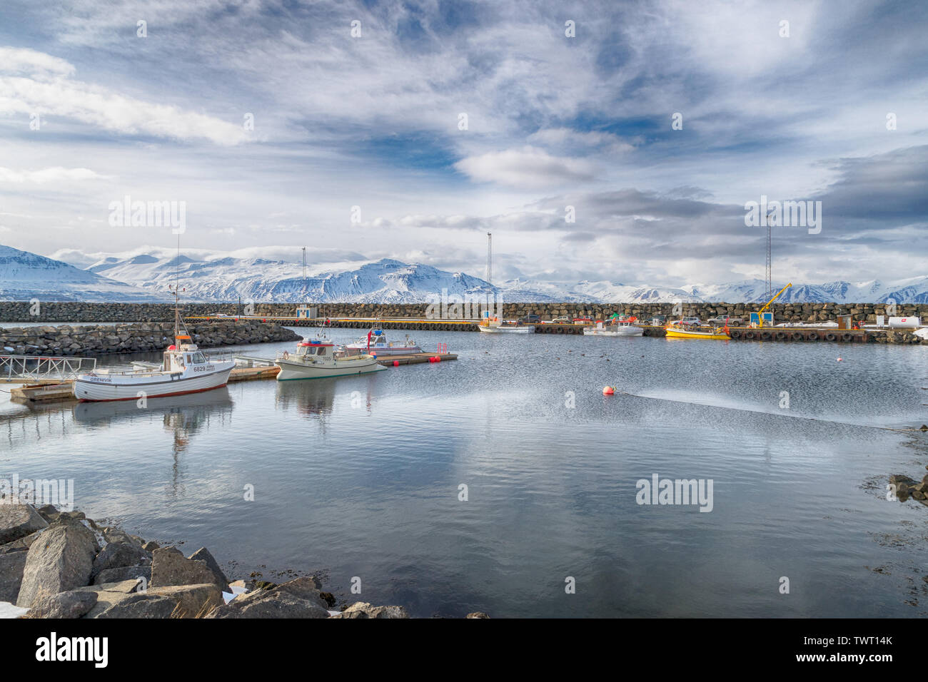 The harbour at Grenivik, Iceland - Stock Image
