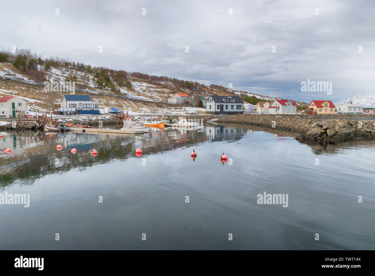 Looking across the harbour at Hjalteyri, Iceland - Stock Image