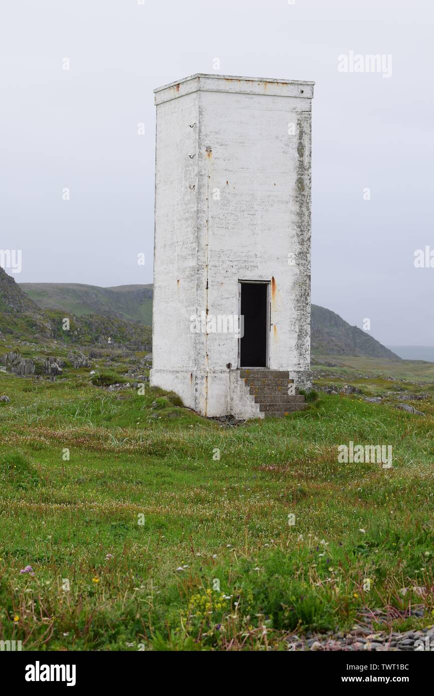 Old tower in norwegian landscape - Stock Image