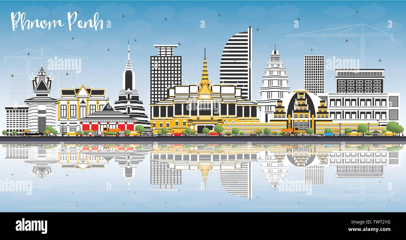 Phnom Penh Cambodia City Skyline with Color Buildings, Blue Sky and Reflections. Vector Illustration. Travel and Tourism Concept. - Stock Image