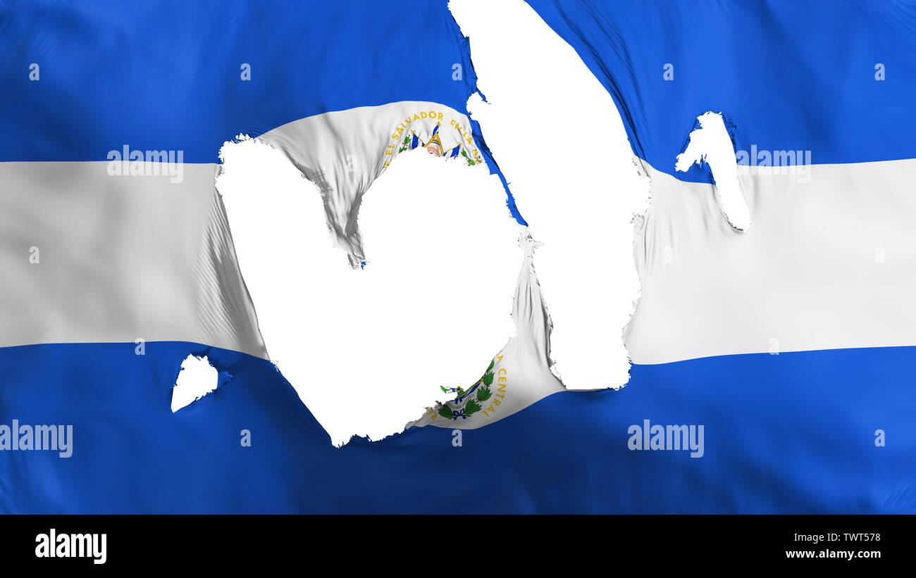 Ragged El Salvador flag - Stock Image