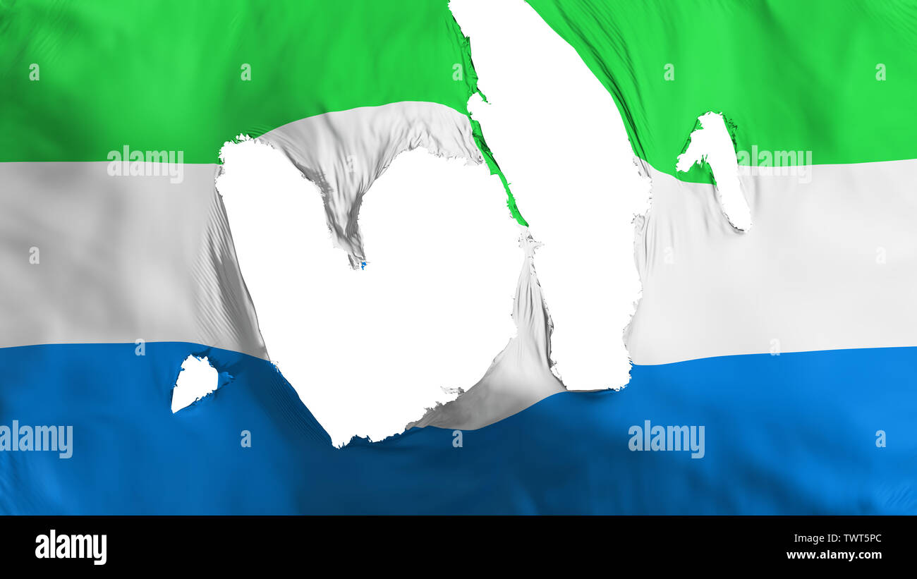 Ragged Sierra Leone flag - Stock Image