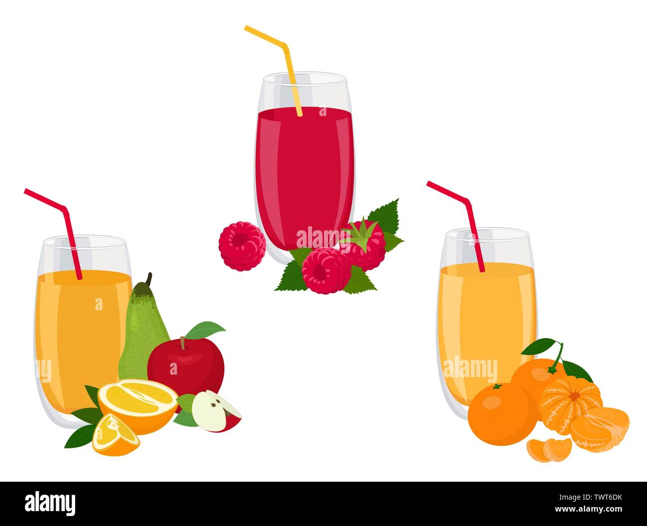 Berry and fruit smoothie, healthy juicy vitamin drink diet or vegan food concept, fresh vitamins. Vector illustration Stock Vector