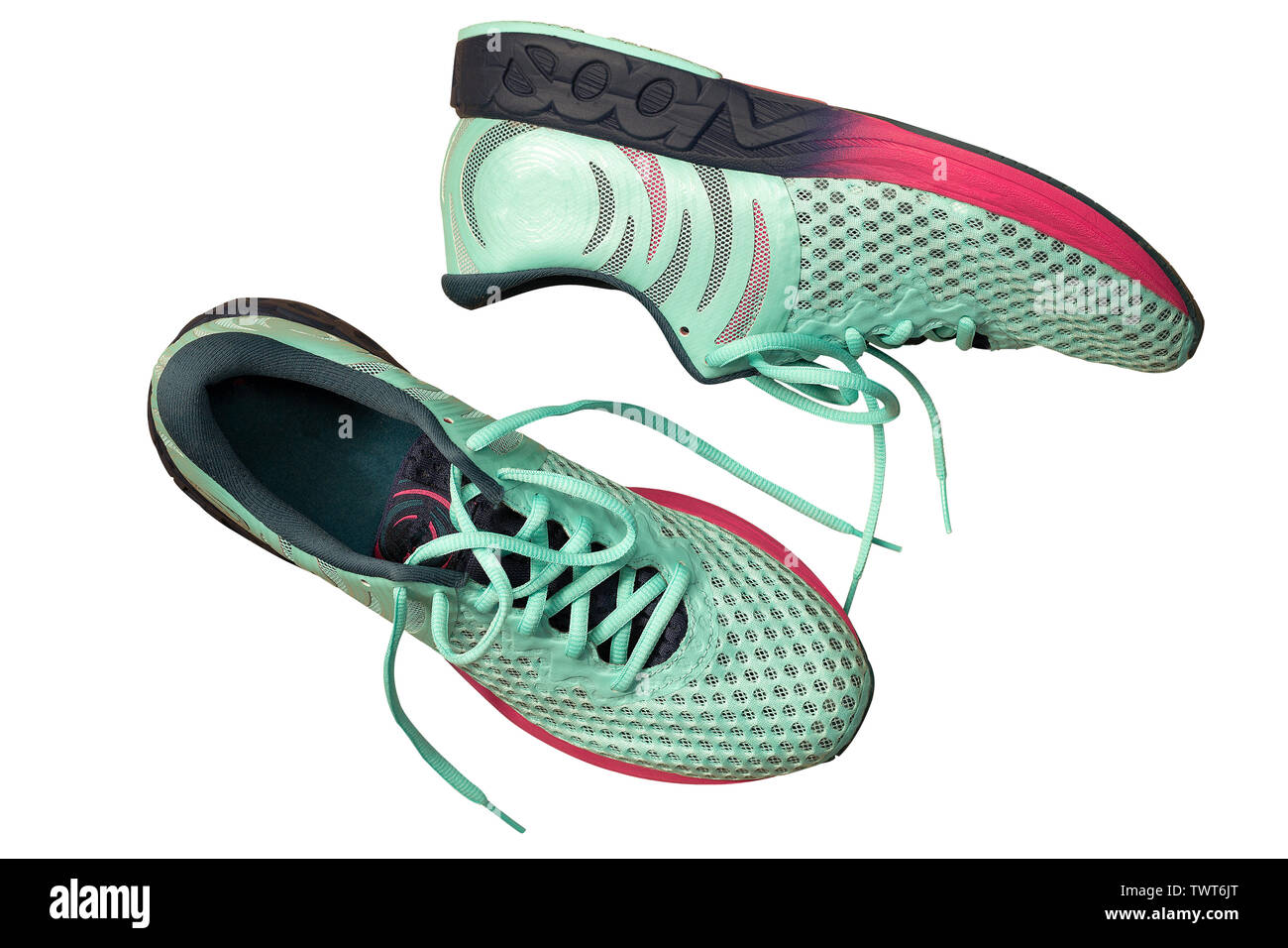 Pair of Perfect sneakers in pale blue for running isolated on white. Shoes for long races Stock Photo