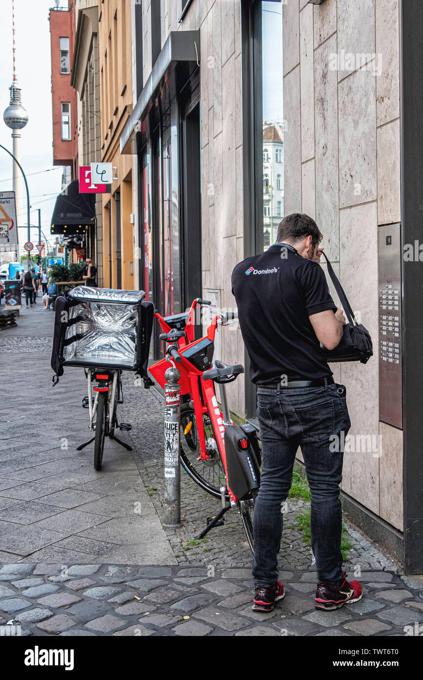 Food Delivery Man On Bicycle Stock Photos & Food Delivery